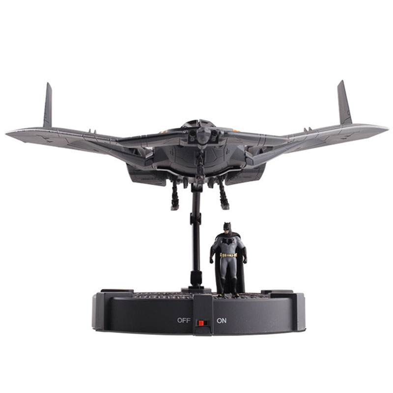 Batman Spaceship aircraft helicopter fighter plane Diecast Alloy model with Base Lights Batman Figure Model Toys Gifts for Kids