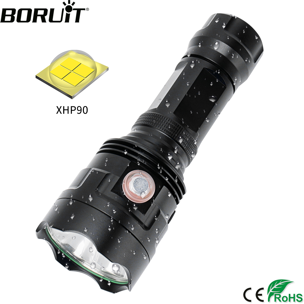BORUiT T30 3*XHP90 LED Flashlight High Power 5000LM 6-Mode Torch Rechargeable 26650 Lantern Hunting Fishing Waterproof Light
