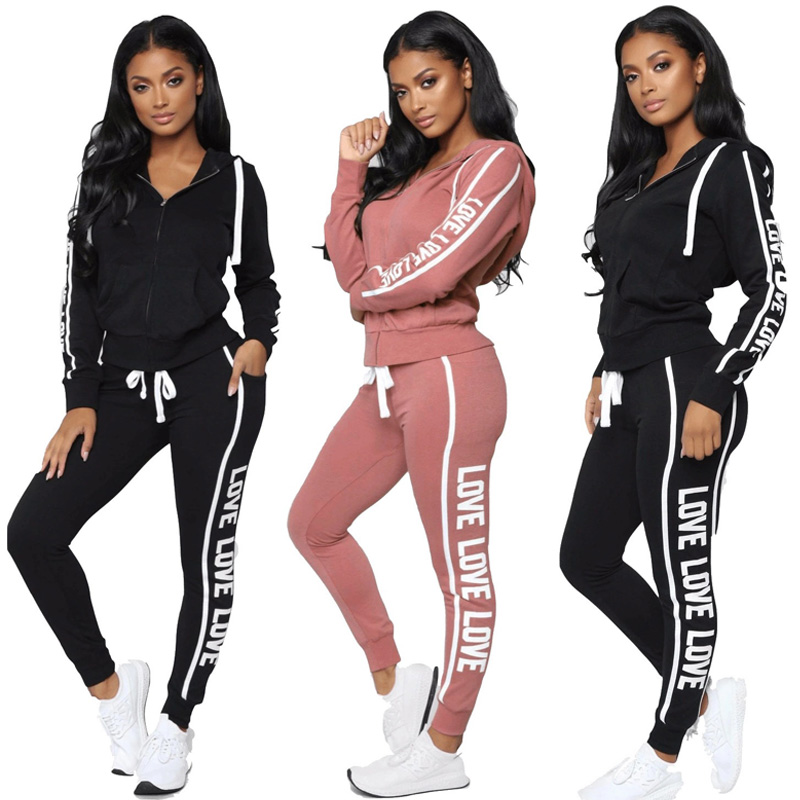 Women Tracksuit Two Piece Set Sexy Zipper Hoodies Tops + Trousers LOVE Letter Printed Sportwear Female Casual Outfits