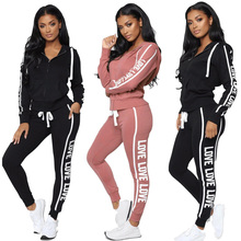 Women Tracksuit Two Piece Set Sexy Zipper Hoodies Tops + Tro