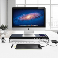 Monitor Stand Computer Base Table ,with Wireless Charging High end Aluminum Stand Keyboard and Mouse Organizer for iMac