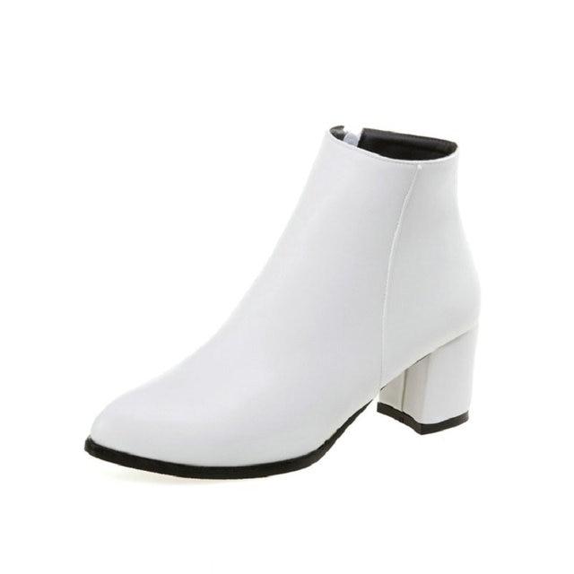 Blanc noir femmes bottes confortable carré haut talon bottines mode bout pointu bottes à glissière automne hiver dames chaussures taille 46