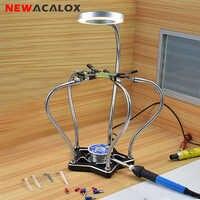 NEWACALOX Third Hand Soldering Iron Holder 5pc Helping Hands Soldering Station 3X LED Magnifier Desk Lamp Repair Welding Tool