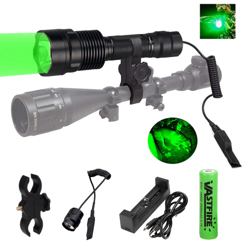 2000lms Tactical C12 Flashlight Waterproof Green/Red Torch Night Hunting Lanterna+18650+Charger+Remote Switch+Rfile Scope Mount