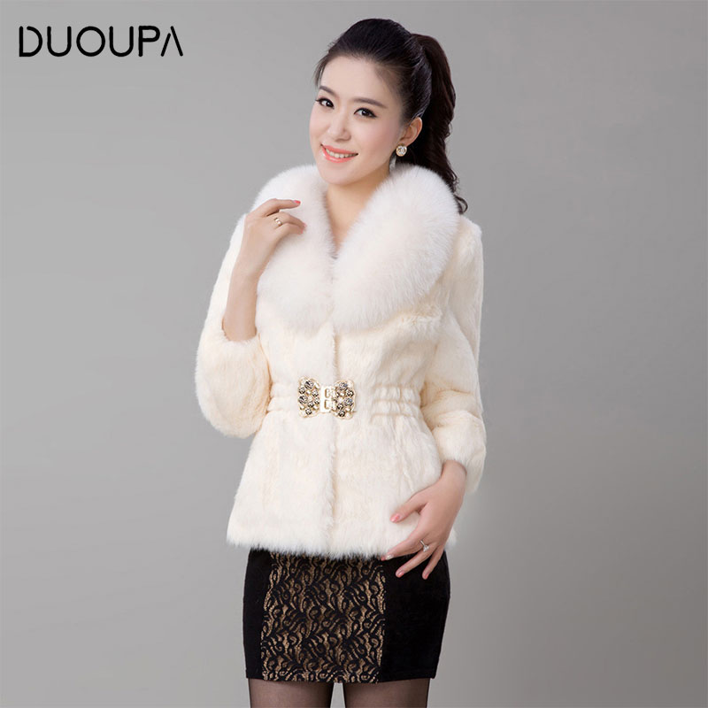 2019 Autumn and Winter New Fashion Women's Imitation Mink Fur Coat Short Fox Fur Collar Slim Temperament Jacket Artificial Fur
