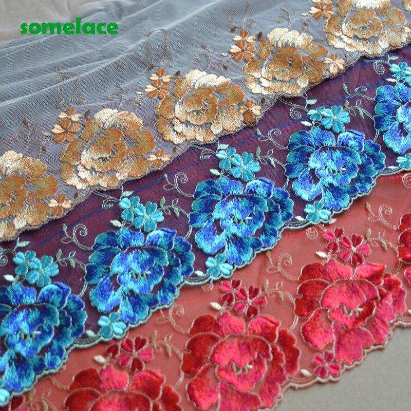2Yds/lot 27cm geniş şeffaf ağ altın, mavi, kırmızı floresan çiçek nakış yüksek kaliteli dantel Trim giysiler için düğün