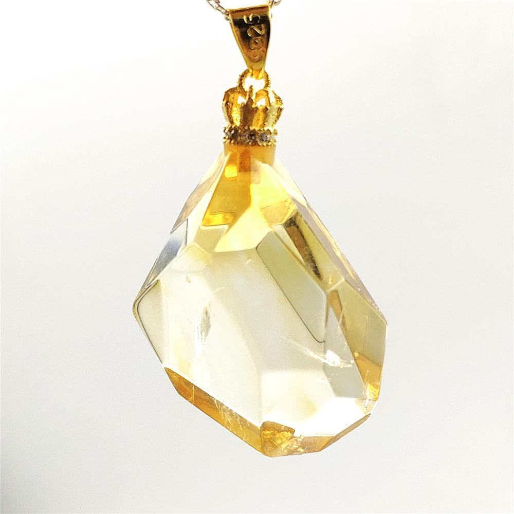 Top Natural Yellow Citrine Quartz Crystal Gemstone Women Pendant 28x20x13mm Faceted Cut Wealthy Bead Necklace AAAAA
