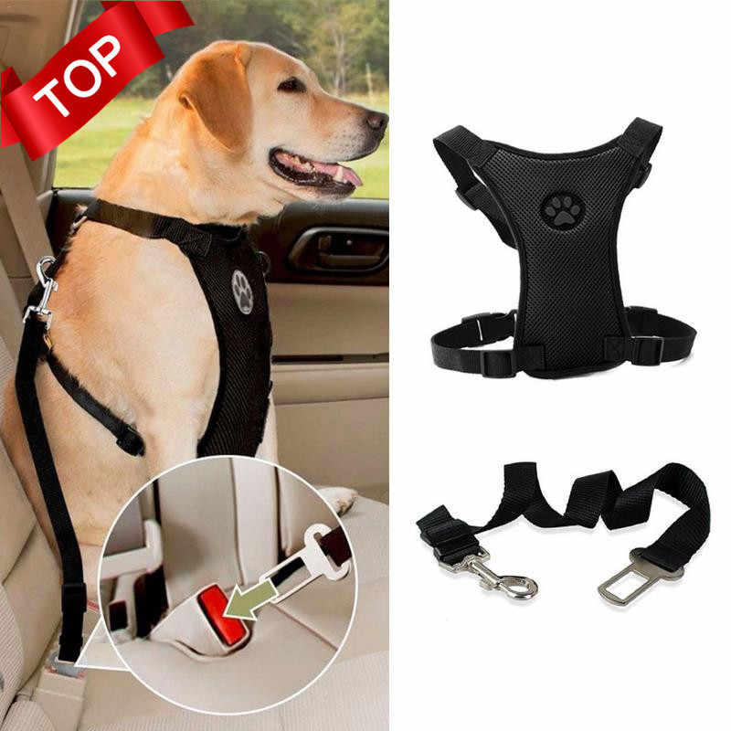 NEW Breathable Mesh Dog Harness Leash With Adjustable Straps Pet Harness With Car Automotive Seat Safety Belt Dog Chest Straps