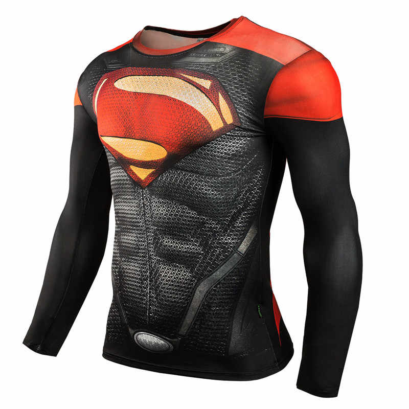 Red Superman Mens T Shirts Fashion Casual Best Sales long Sleeve 3D Tops Tees Bodybuilding MMA