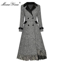 Long-Sleeve Overcoat Woolen-Cloth Plaid Double-Breasted Women Autumn Fashion Tassel Moaayina