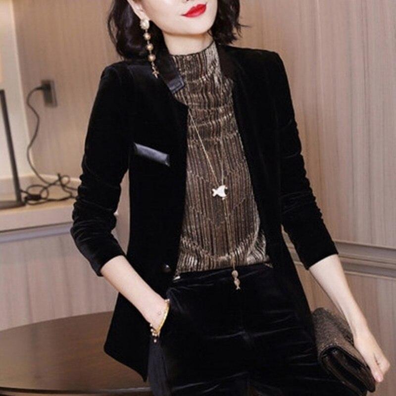 Velvet Blazer Black Ladies Designs Women Suit Jacket Winter Coat Jacket Woman Blazers Suits Designs Women Blazers 2019 AA5143