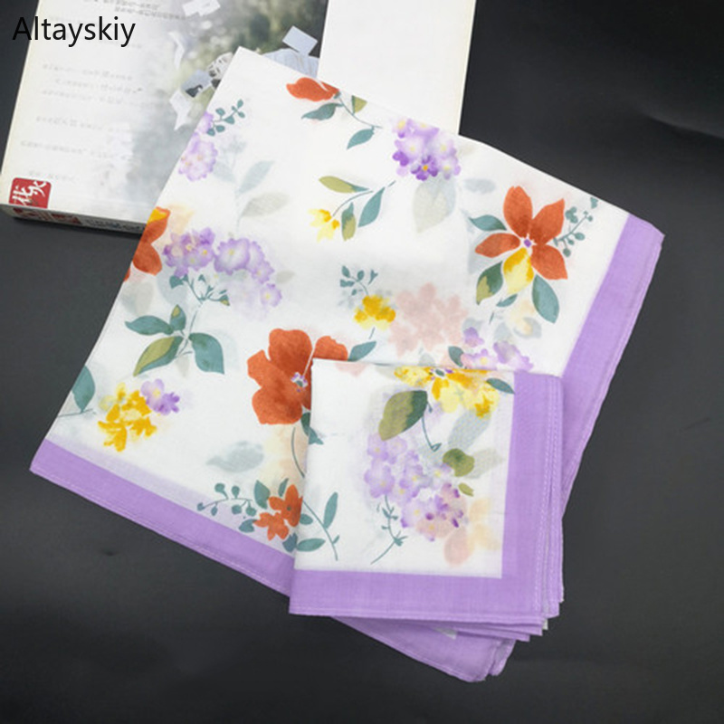 Handkerchiefs Women Cotton Retro Classic Floral Printing Elegant Soft Thin Simple Square Handkerchief Womens Chic National Style