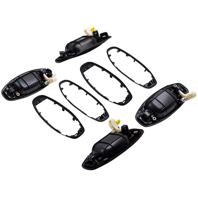 4Pcs Door Handle Set For 2001 2006 for Hyundai Santa Fe Outer Black Plastic
