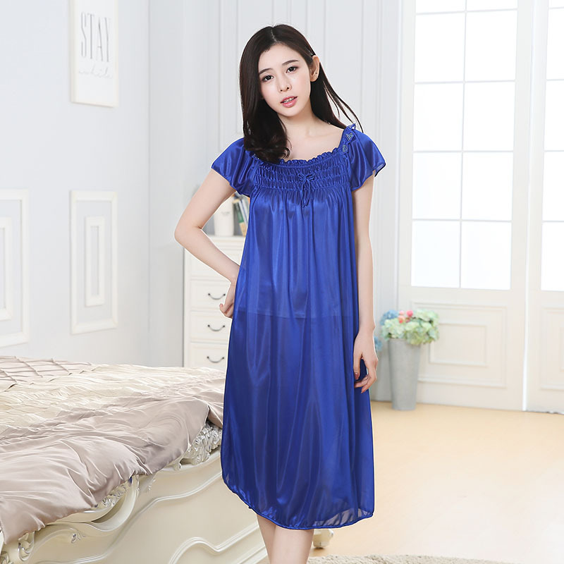 Solid Color Viscose Nightgown Summer Short-sleeved WOMEN'S Pajamas Fat Mm Viscose Long Nightgown Tracksuit