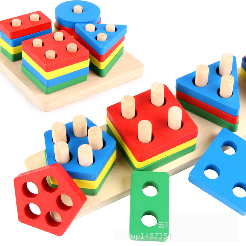DIY Build Wooden Building Blocks Geometric Shape Pairing Board Model Set Early Education Learning Toys for Children 1 2 3 Years