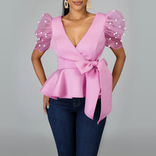 Beading Puff Sleeve Pink Bloues Tops Summer African 2020 Sexy Party Dinner Club Tops Femme High Wais