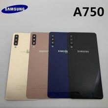 Batterie dorigine couvercle arrière verre porte boîtier remplacement + arrière caméra verre lentille cadre pour Samsung Galaxy A7 2018 A750 A750F