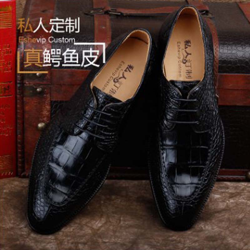 Ourui True  The Crocodile  Belly  Business  A Suit  Men's Shoes  Black  Leather Shoes Men Shoes