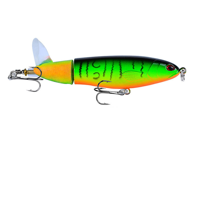 YUZI Whopper Popper 110mm 15g Artificial Top Water Fishing Lure Rotating Tail in Fishing Lures from Sports Entertainment
