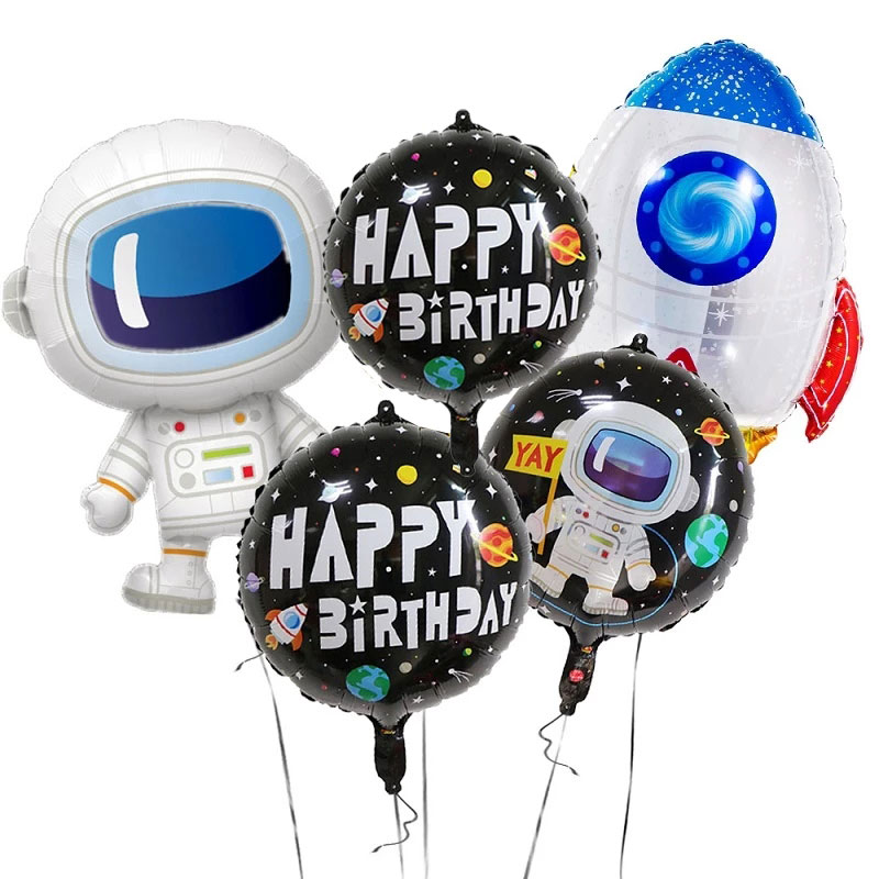 1Set Baby Boy Toy Happy Birthday Party Decoration Outer Space Astronaut Foil Balloon ET Planet explore partner kids favors