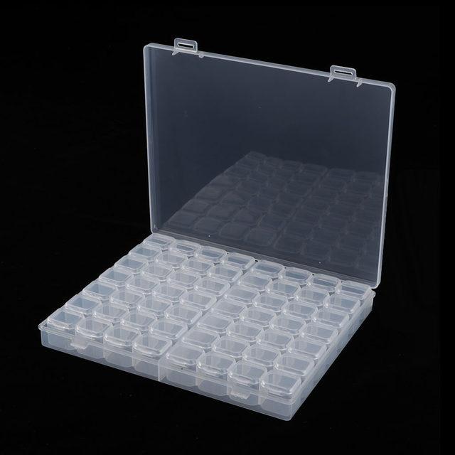 Plastic Cute Clear Storage Box with 56 Grids Jewelry Nail Art Pill Beads Mini Case Jewelry Display
