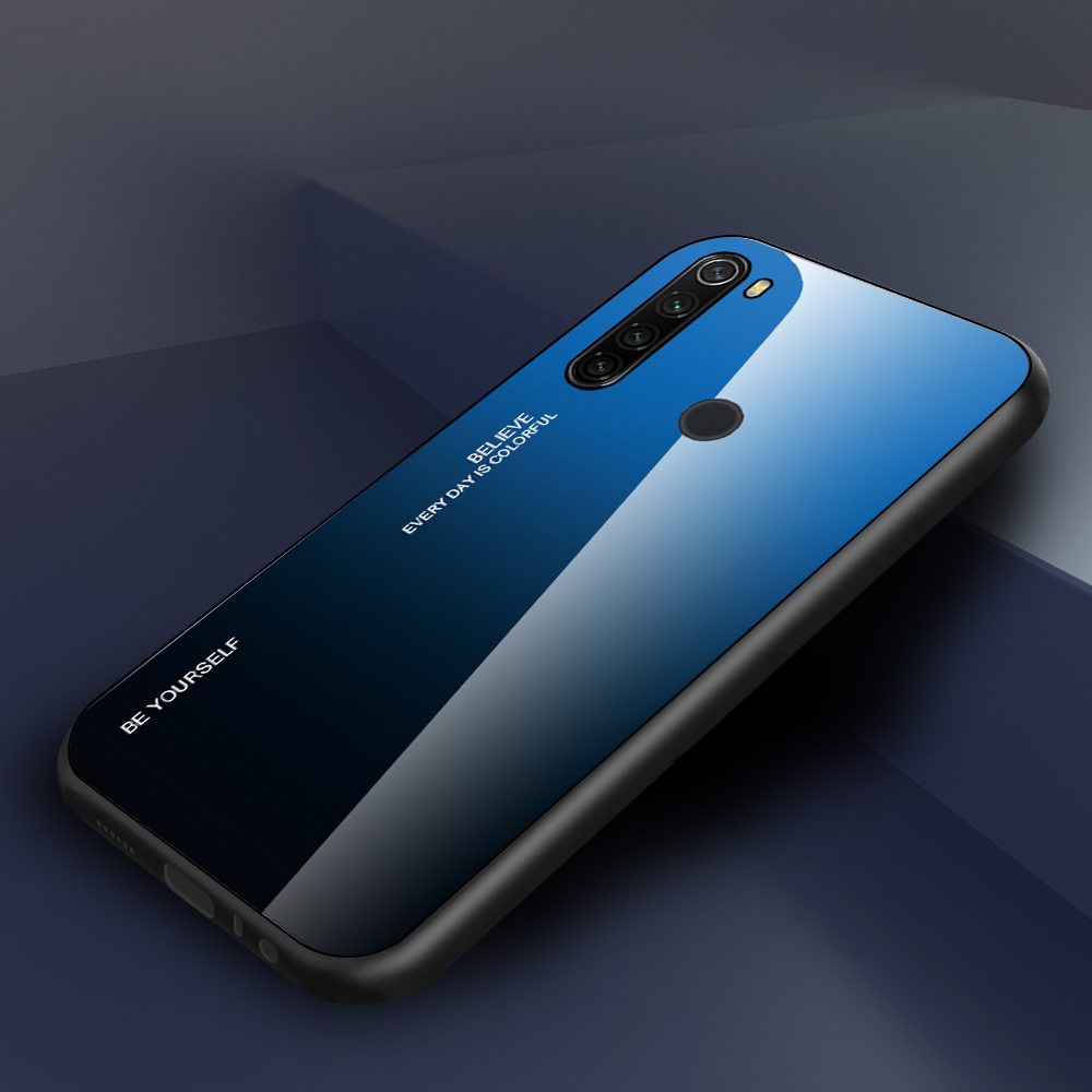 Shockproof Tempered Glass Cover  For Xiaomi Redmi Note 8 T Gradient Bumper Shell For Redmi Note 8 Pro 8 8T 6