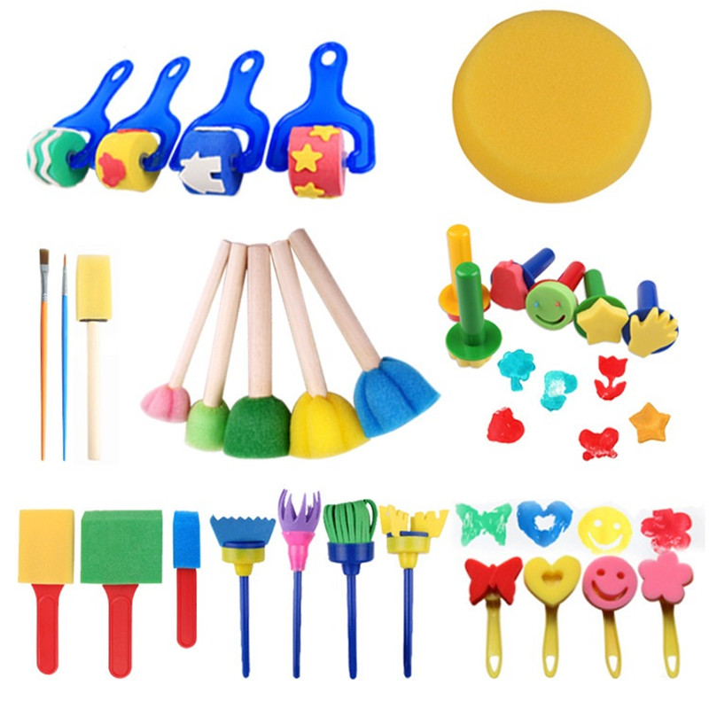 30PCS Children Paint Sponges Brushes Drawing Tools For Children Kids Early Painting Arts Crafts DIY Oil Acrylic Watercolor 03115