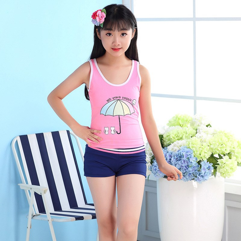 New Style GIRL'S Students Conservative Split Type Slimming Qmilch Yiwu Bathing Suit Bubble Hot Spring Printed Athletic
