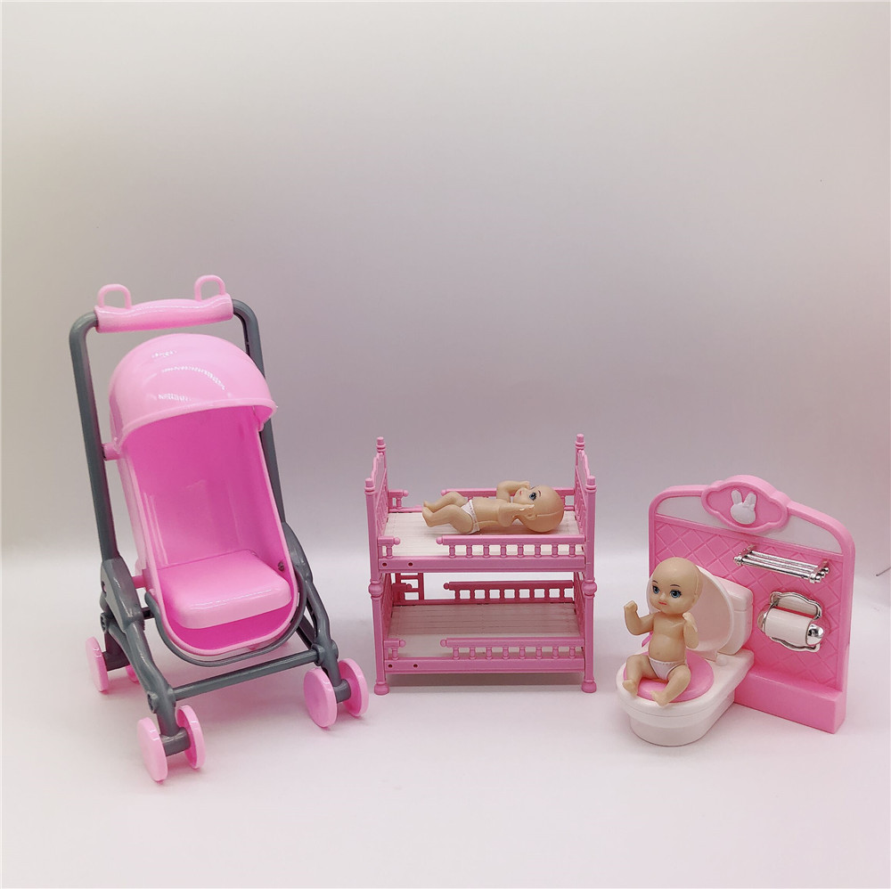 2020 New Barbies Doll Package Barbies Accessories Plastic Children's Educational Toy Trolley, Double Bed, Toilet + Baby