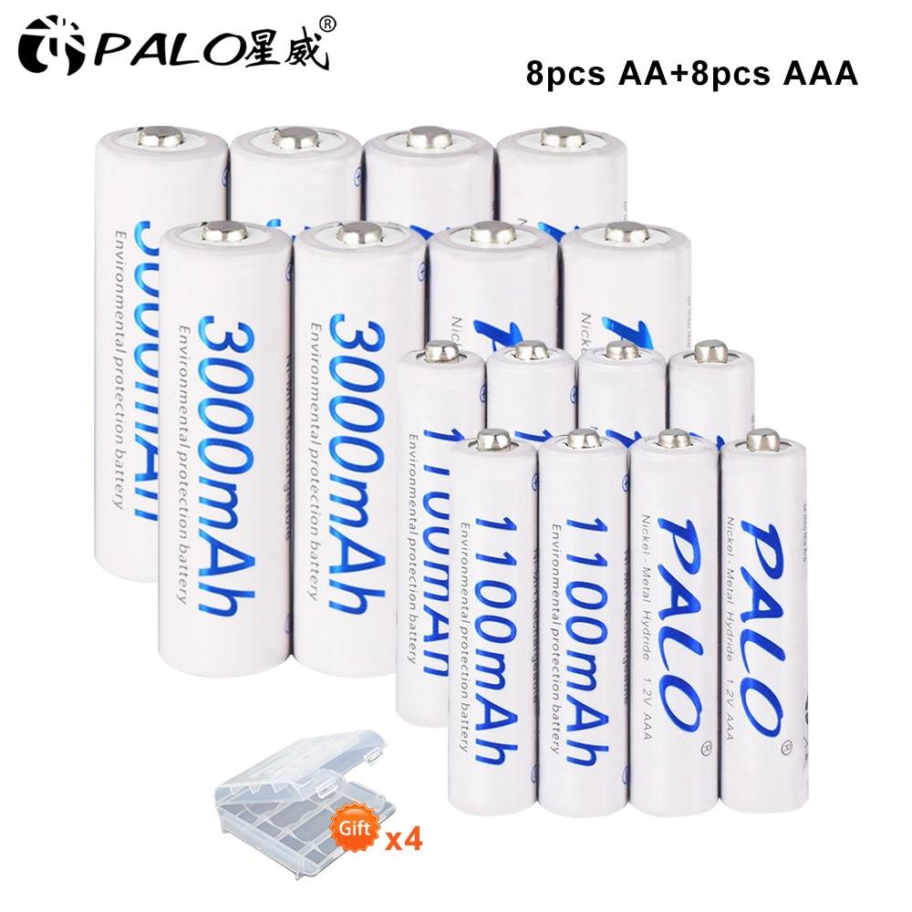 Bateria recarregável 1.2v + 8 pces 1.2v aaa ni-mh da bateria recarregável v do aa ni-mh dos pces de palo 8 com auto-descarga da caixa da bateria baixa