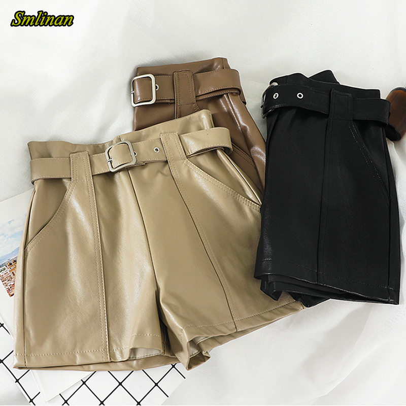 Smlinan Motorcycle Biker Pu Leather Shorts Women Summer Clothes Harajuku Punk Sexy Leather Black High Waist Short Female