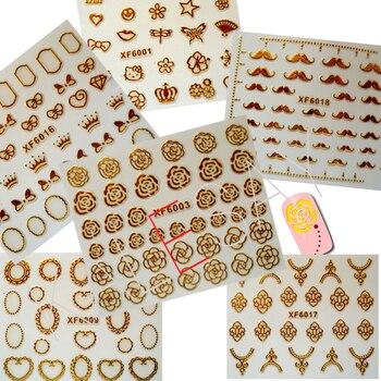 2019 pegatina adhesiva diseño de uñas decopración para uñas Logo pegatina decoración marca de bricolaje arte rayas doradas flor manicura