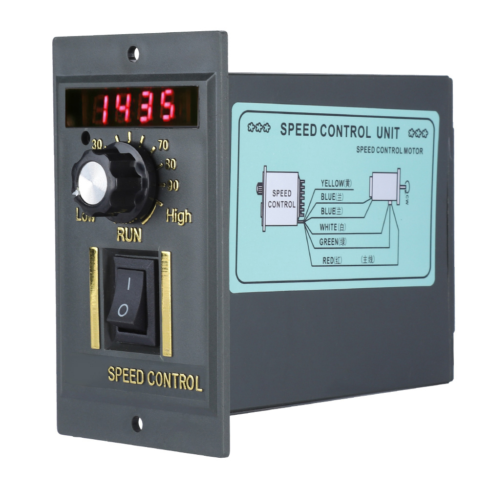 AC 220V 50Hz Motor Speed Controller 400W Digital Adjustable Stepless Plc Motor Speed Controller 0-1450rpm Speed Regulator
