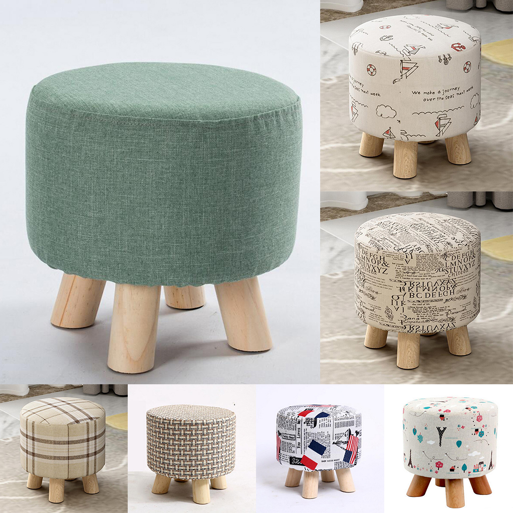 Round Linen Fabric Pouf Footstool Cover Wooden Stool Slipcover,14 Color Or Patterns For Your Choice