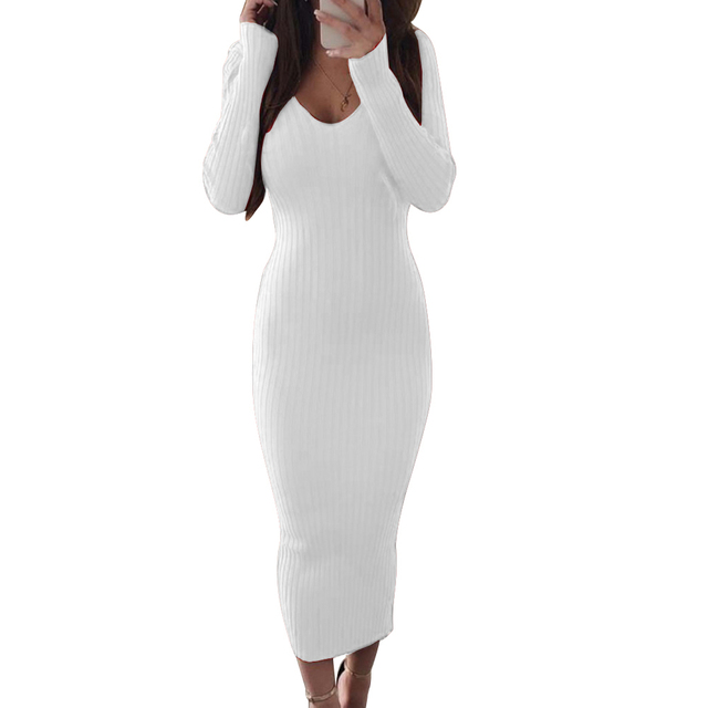 Sexy Women Long Sleeve V Neck Backless Ribbed Bodycon Sliming Knitted Midi Dress Party Dress Vestidos summer dress 2