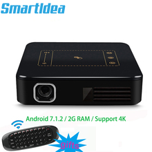 Поддержка 4K Android7.1.2 мини dlp проектор умный ручной проектор 8000 мАч аккумулятор HD 1080P домашний проектор Miracast Airplay Eshare