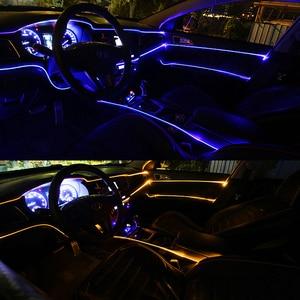 Image 5 - 8 متر RGB الألياف البصرية سيارة الداخلية الزخرفية المحيطة ضوء App التحكم الصوتي LED قطاع ولاعة السجائر السيارات جو مصباح 12 فولت