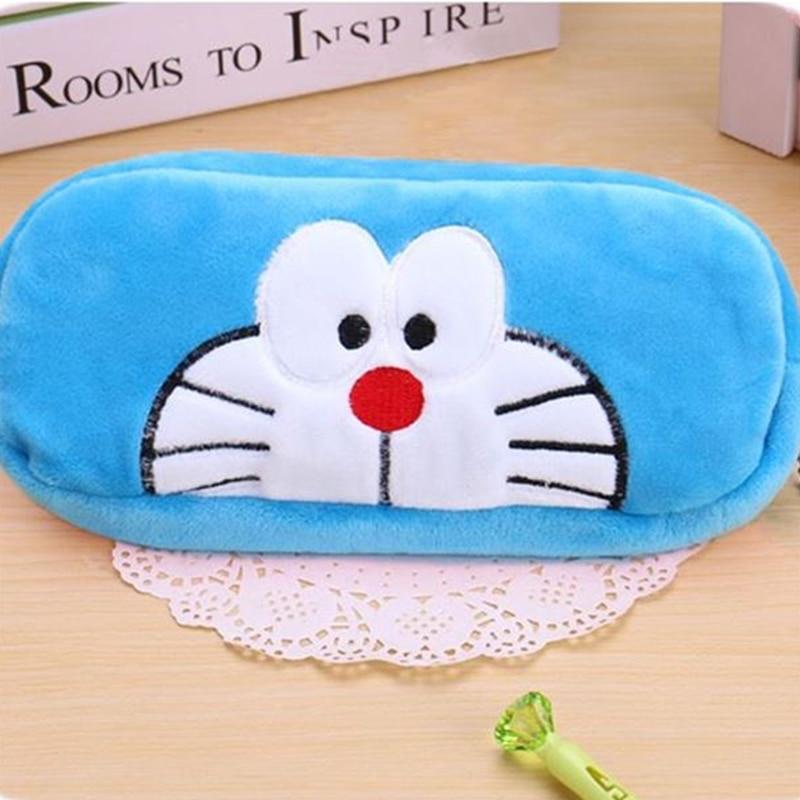 Fashion Cartoon Pencilcase Doraemon Velvet Purse Pencil Case Pen Bag Wallet Pouch Storage Stationery Makeup Cosmetic Handbag