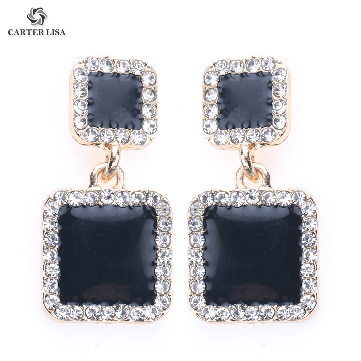 CARTER LISA 2019 New Statement Earrings Black Square Geometric Earrings For Women Crystal Luxury  Rhinestone Earring HDEA-097