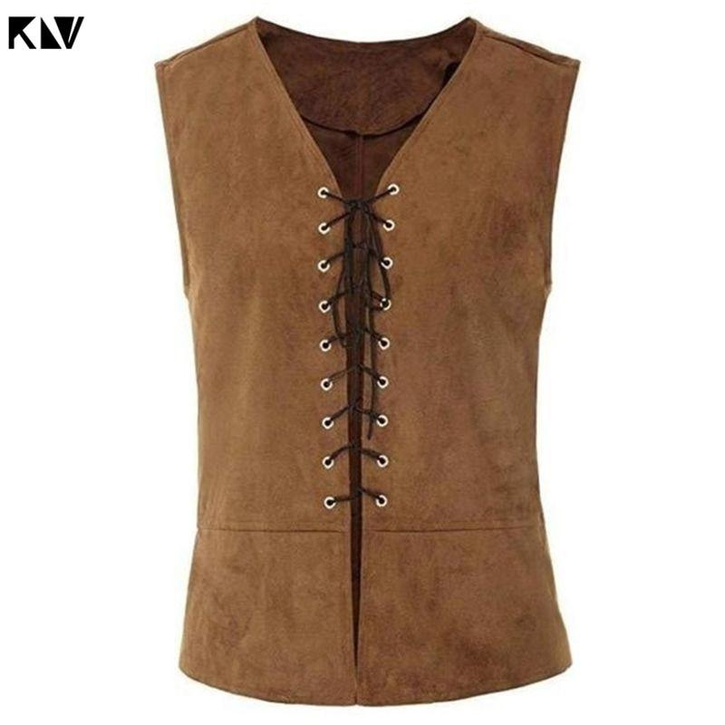 KLV Men Vintage Medieval Vest Gothic Steampunk Sleeveless Jacket Solid Color Criss Cross Lace-Up Renaissance Waistcoat Costume