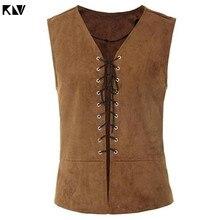 Sleeveless Jacket Medieval-Vest Renaissance Waistcoat Vintage Steampunk Gothic KLV Solid