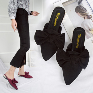 Image 3 - SWYIVY Womans Mulers Shoes Toe Cover Half Slippers 2019 Summer Embroidery Bee Lady Slides Sexy Pointed Toe Female Casual Mulers