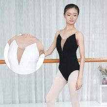 Kadın kızlar seksi siyah beyaz bale dans Leotard kaşkorse jimnastik mayoları yetişkinler Bodysuit mayo S, M, L, XL, XXL kadınlar için