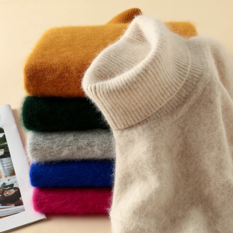 The New Sweaters and pullovers turtleneck soft fur mink cashmere super warm for women Autumn Winter Jumper woman brand Jumper thumbnail
