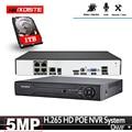 H.265 + Max 5MP 4CH 8CH 4MP 48V POE NVR до 8CH аудио выход видеонаблюдения безопасности распознавание лица видео рекордер для POE IP камеры