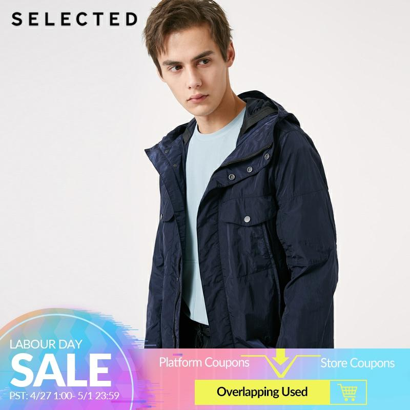 SELECTED Men's Autumn & Winter Long Outwear Pure Color Short Coat Hooded Jacket S | 419121521