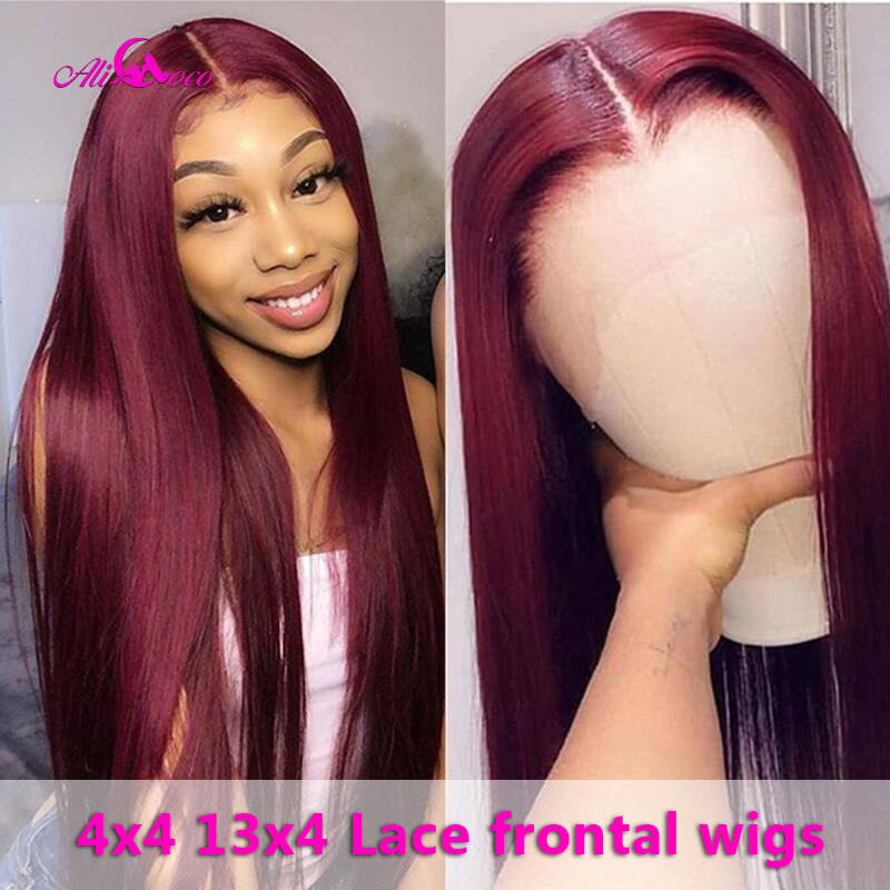 Ali Coco 26 28 30 Inch Brazilian Straight Human Hair Wigs 13x4 /4x4 / #99 /1B99J/Blonde Color Remy Hair 150% Lace Frontal Wigs