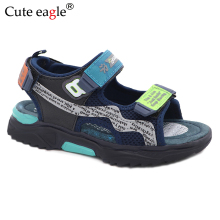 Summer children's shoes brand open-toed beach boy sandals orthopedic comfortable pig leather inlose sports boys Roman sandals