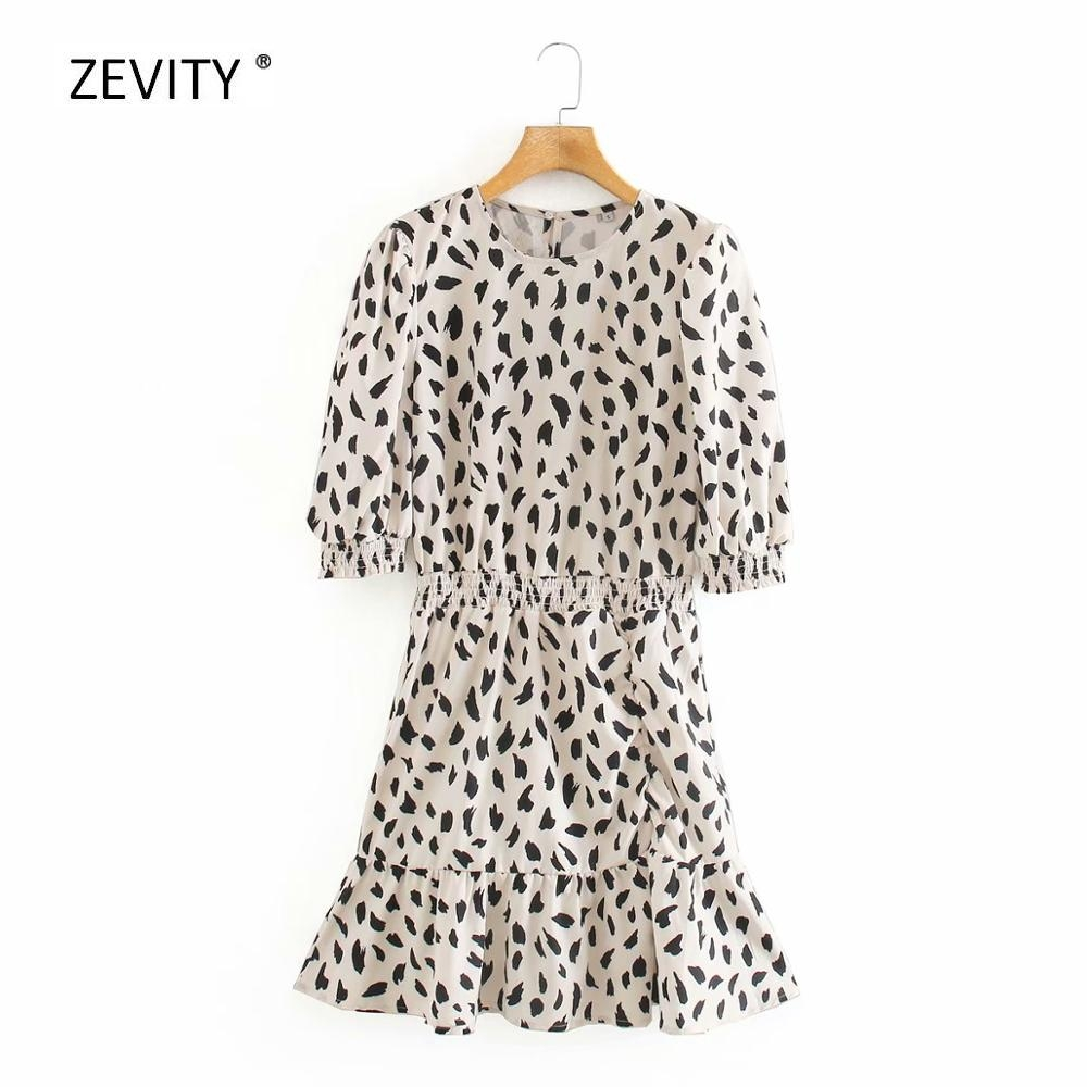 2020 Women Vintage O Neck Graffiti Print Ruffles Casual Mini Dress Female Puff Sleeve Elastic Waist Vestidos Chic Dresses DS3903