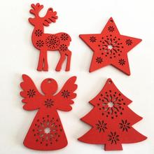 Creative wooden Christmas tree Ornaments Home Decora Gift Santa Claus Snowflake Star Angel Sleigh Bell Elk
